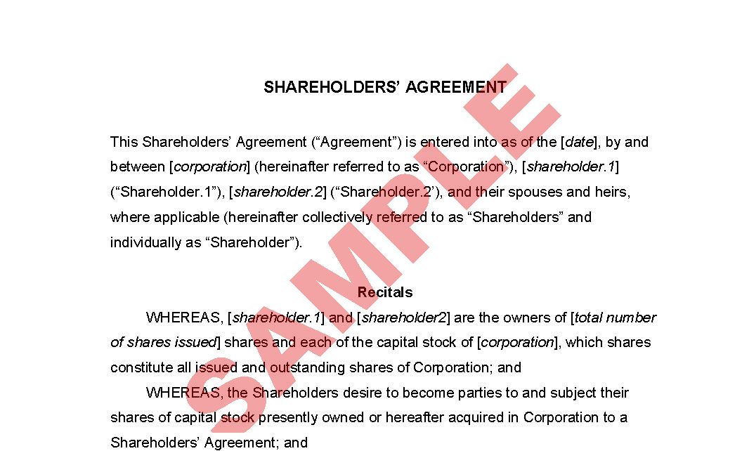 Shareholder Agreement Business Forms Company Formation Forms